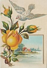 Antique Advertising Trade Card Embossed Bird, Roses, Carr & Betz sewing Machine