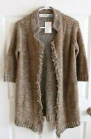 Sparrow Anthropologie Light Brown w/ Blue Knit Sweater Coat, Size S