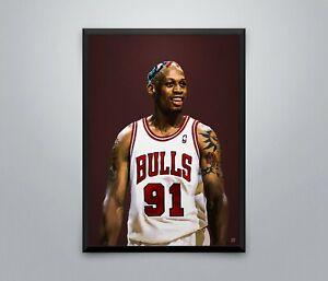 Dennis Rodman Vintage Poster Bulls NBA Basketball Sport Wall Print 3 Sizes