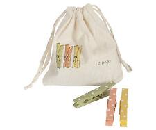 * Maileg Wäscheklammern 12er Set im Beutelweiss rosa gelb gruen Punkte