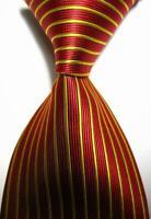 Hot! Classic Striped Red Gold JACQUARD WOVEN 100% Silk Men's Tie Necktie