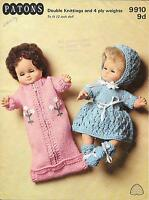 "Vintage 12"" Dolls Clothes Knitting Pattern, DK 4 ply Fashion Doll Sleeping Sack"