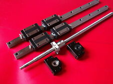 16mm ballscrew RM1605-750mm+BK/BF12 end bearing+20mm Linear Guideway 2 Rail CNC