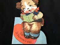 #823 Sweetest Vintage Childrens Valentine Card 40s Gibson Singing Pup