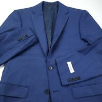 Calvin Klein Wool Suit Separate Jacket Blazer Mens 38R Stretch Solid Blue