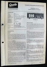Historische Radio-Anleitung~Graetz Hostess 52 H~1966 Original Techn.Information