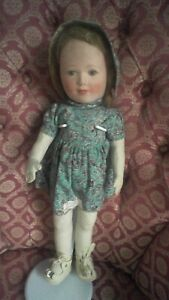 "All Original 16""  Chad Valley Cloth Faced Vintage Doll circa 1950's"