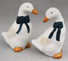 Vintage Salt & Pepper Shakers Set White Geese 1990s Kitchenalia Kitsch Cute