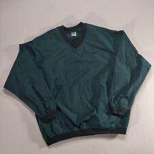 Vintage 90s Nike Pullover Jacket Swoosh Green Black LARGE Pouch Pocket V-neck