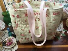 Handmade Cotton~Quilted Market Bag Shop pretty with Pink Roses Washable