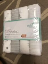 Aden + Anais Swaddle Muslin Baby Blankets White Gray Stripe Stars Pack of 4