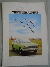 Chrysler Alpine range brochure Aug 1977 UK market
