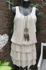 Kleid Strand Trägerkleid Sommer Hippie Ibiza Nude Volant Süß 36-38 Lagenlock