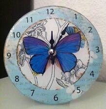 Clayre & Eef*Glas Wanduhr*17cm*Lanhaus Stil*Retro*Shabby*Schmetterling*Butterfly