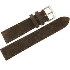 20mm Mens Fluco Brown Suede Leather Made in Germany Watch Band Strap