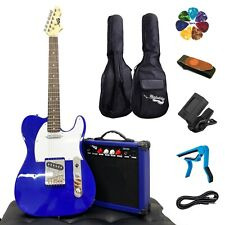 Full Size Electric Guitar 20W Amp Case and Accessories Pack Blue Beginner Set