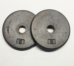"""Two (2) 5lb Standard 1"""" Dumbbell Weight Plates 10 Pounds Total exersize workout"""