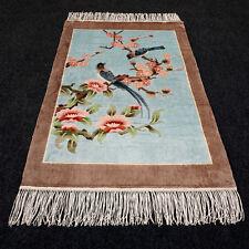 Orient Teppich China 94 x 61 cm Seidenteppich Seide Vogel Silk Carpet Rug Tapis