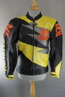 PWR BLACK, YELLOW & SILVER LEATHER RACING/SPORTS BIKER JACKET 34 INCH