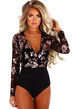 M US Women Rose Gold Sequin Embellished Black Mesh Long Sleeve Bodysuit Jumpsuit