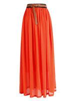 Lady Women Chiffon Maxi Skirt Pleated Retro Long Dress Elastic Waist | 25 Colors