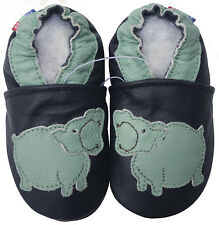 carozoo hippo black 3-4y soft sole leather baby shoes