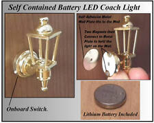 1/12, Working LED Battery Dolls House Brass Coach Wall Light Lamp porch Hall LGW