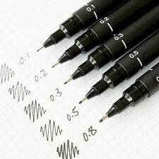 Pack 5 Uni Pin Black Fineliner Marker Pens 0.1+0.2+0.3+0.5+0.8 mm (AU Seller)