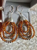 Jay King DTR 925 Sterling Silver Natural Baltic Amber Lever back New Earrings.