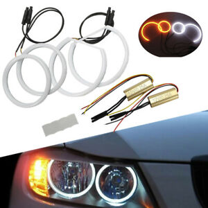 4x Cotton Switchback DRL Ring Angel Eye Halo For E90 06-11 none halo headlights