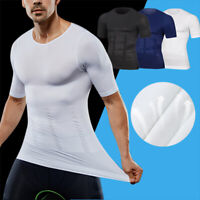 Men Compression T-Shirt Belly Control Body Build Shapewear Slimming Shaper