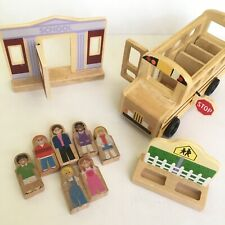 Melissa & Doug Wooden Toy School Bus and Accessories 10 Pieces total Preowned