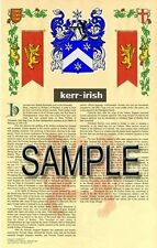 KERR Armorial Name History - Coat of Arms - Family Crest GIFT! 11x17