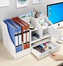 NEW Desk Organizer Wooden Home Office Pen Pencil Holder Storage Box Desktop Tray