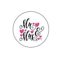 "63 ""Mr & Mrs"" Wedding Themed Envelope Seals / Labels / Stickers 1"" Round"
