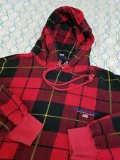 VTG 90s Ralph Lauren Polo Sport Plaid Hoodie Sweatshirt Red Black Spellout Large