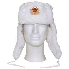 Mfh Chapka Ouchanka Homme Femme Chapeau Russe Av. Faux Fourrure Blanc M