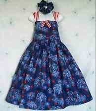 NEW Handmade Patriotic July 4th Fireworks Sun Dress Set Custom Sz 12M-10Yrs
