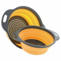 2 Collapsible Colander Mixing Bowl Strainer and Colander Set Silicone Colander