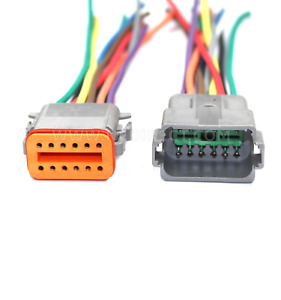 "18 AWG Assembled Deutsch 12 Pin waterproof connector 6"" wire"