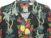 Hibiscus Pineapple Mens Tropical Shirt MED Floral Palm Hawaiian Aloha Black Red