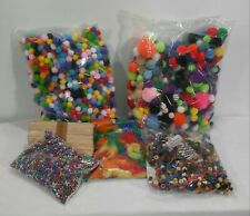 Assort kids craft supply lot, pom poms,feathers, popsicle sticks, beads projects