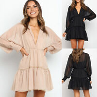 ❤️ Womens Boho Chiffon V Neck Long Sleeve Mini Dress Ladies Casual Loose Dresses