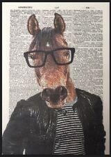 HUMANISED imprimé cheval Vintage Dictionary PAGE décoration murale image dans