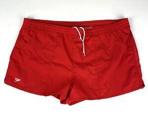 "Vintage 80s Speedo Lined Swim Trunks Mens Size XL 2"" Inseam Short Red"
