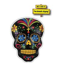 "Sugar Skull Day of the Dead 3x4""  Full Color Mexican Decal Sticker Black DOD12"