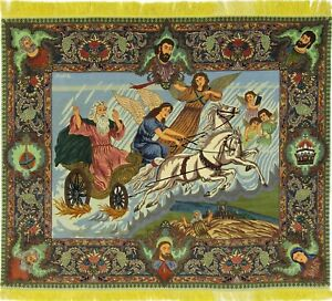 Moses IN River Crossing Picture Täbrizi Persian Carpet Oriental Rug 1,42 X 1,70