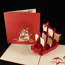 POP UP 3D card - marco polo ship, galleon (birthday, blank, Father's Day)