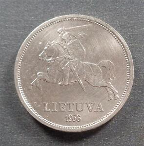 Lithuania, Silver 5 Litai, 1936, lustrous