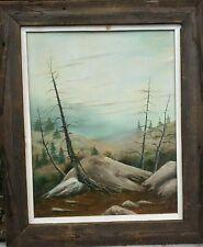 """Oil on Board Painting Alpine Dead Trees in Rock Desolate Landscape Scene ~15x19"""""""